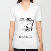 imagine V-neck T-shirts featuring Imagine by Paul Kimble