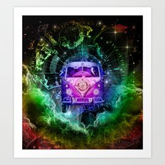 galaxy vintage voyager world map design 1 Art Print