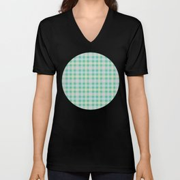 Orange, Blue & Yellow Plaid Pattern with Green Background Unisex V-Neck