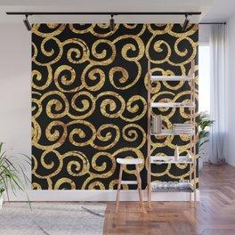 Gold Swirls on Black Background Wall Mural