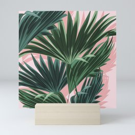 Pink and green palm trees Mini Art Print