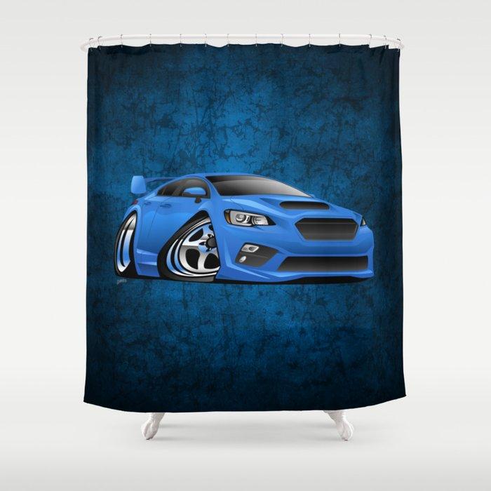 Import Sports Sedan Cartoon Illustration Shower Curtain
