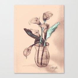 Old Photo Calla Lilies Canvas Print