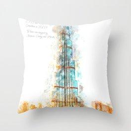 Burj Khalifa, Dubai, Aquarell Throw Pillow
