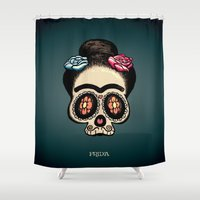 frida Shower Curtains featuring Frida by mangulica illustrations
