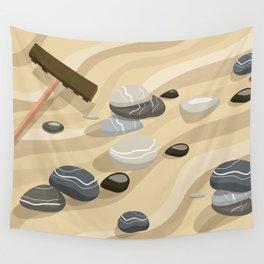 Zen Garden Sand Stones and Rake Wall Tapestry