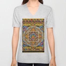 Buddhist Mandala Gold Tangka Wisdom Unisex V-Neck
