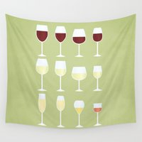 wine Wall Tapestries featuring Wine by Sara Showalter