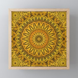 Golden Lace Mandala Pattern Framed Mini Art Print