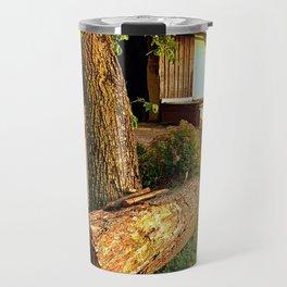 Tree trunk bench on a summer evening | landscape evening Travel Mug