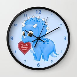 Cute Blue Baby Triceratops Red Love Mommy Heart Wall Clock