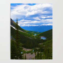 Looking over lower Geraldine Lakes in Jasper National Park, Canada Poster