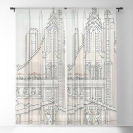 Art Deco Castle Sheer Curtain