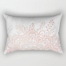 Queen Starring of Mandala-White Marble Rectangular Pillow