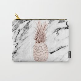 Pineapple Rose Gold Marble Carry-All Pouch