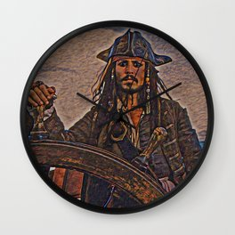 Pirates of the caraibbean Jack Sparrow Artistic Illustration Ancient Adventure Style Wall Clock