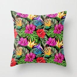 Tropical Flora Summer Mood Pattern Throw Pillow
