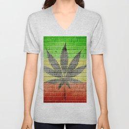 Marijuana Cannabis Leaf Unisex V-Neck