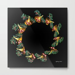 Fractal Christmas Wreath Metal Print