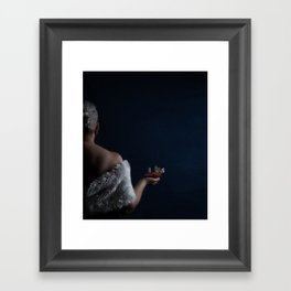 Woman with pomegranate and butterflies Framed Art Print
