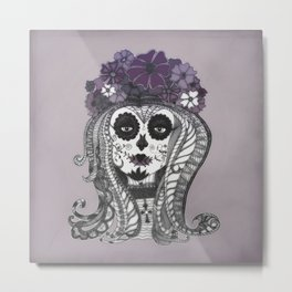 FLOWER CANDY SKULL Metal Print
