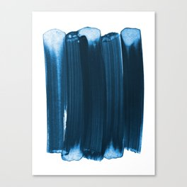 Indigo Blue Minimalist Abstract Brushstrokes Canvas Print