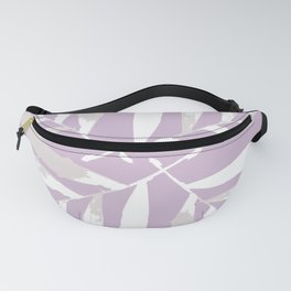 Geometric White on lilac purple autumn fall tropical pattern Palm leaves society6 Fanny Pack