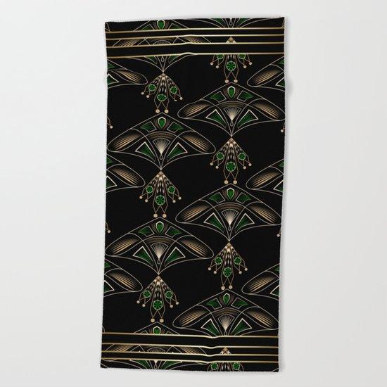 "Art Deco . ""Emeralds "". Beach Towel"
