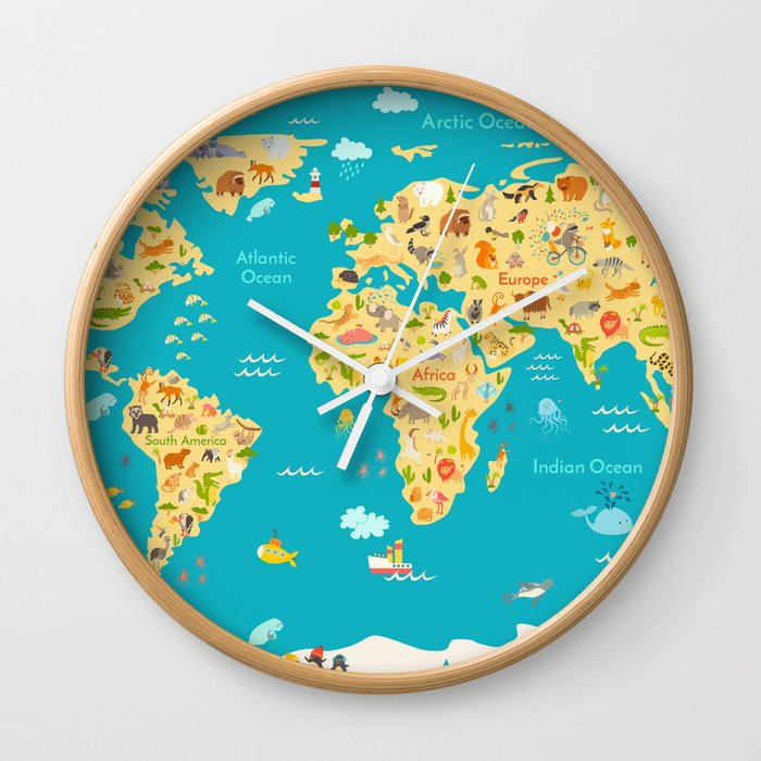Animal map for kid world vector poster for children cute animal map for kid world vector poster for children cute illustrated wall clock gumiabroncs Image collections