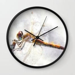 Platinum White Dragonfly Watercolor Wall Clock