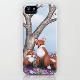 fox, cubs and tufted titmice iPhone Case