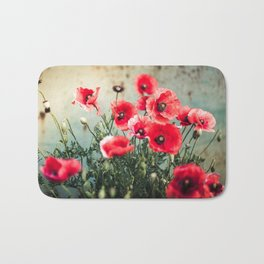 Fresh Poppies In Bloom Bath Mat