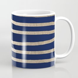 Drawn Stripes White Gold Sands on Nautical Navy Blue Coffee Mug
