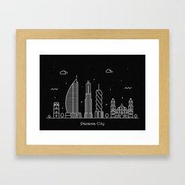 Panama City Minimal Nightscape / Skyline Drawing Framed Art Print