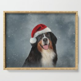 Bernese Mountain Dog in red hat of Santa Claus Serving Tray