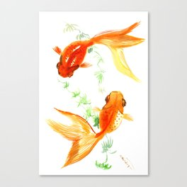 Goldfish, Feng Shui Asian Watercolor Canvas Print