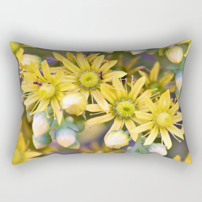 Ants on Tiny Yellow Flowers by Reay of Light Photography Rectangular Pillow