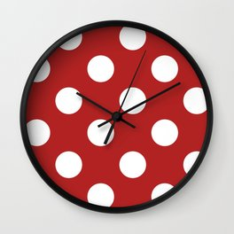 Large Polka Dots - White on Firebrick Red Wall Clock