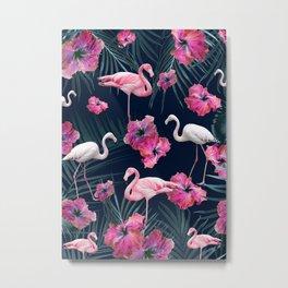 Flamingo Hibiscus Jungle Night Siesta #1 #tropical #decor #art #society6 Metal Print