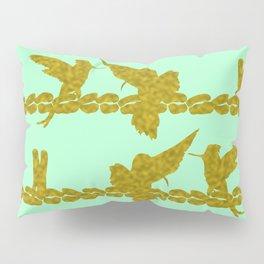 Gold Hummingbirds on Mint Green Pillow Sham