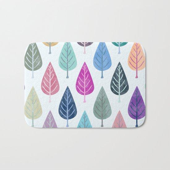 Watercolor Forest Pattern III Bath Mat