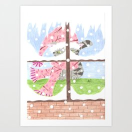 Christmas Tabby cat looking out the window Art Print