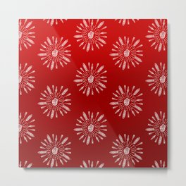 Red Aztec Ombre Pattern Metal Print