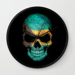 Dark Skull with Flag of Bahamas Wall Clock