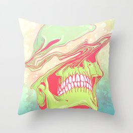 Liquify candy colored skull illustration  Throw Pillow