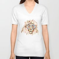 scuba V-neck T-shirts featuring Scuba Lion by Kristen Williams