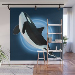 Illustration of an orca in the depths of the sea depths. Wall Mural