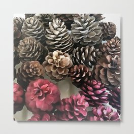 Organic Pine Cone Holiday Ornaments Metal Print