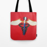 medical Tote Bags featuring Medical Corps Snake by ArtSchool