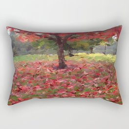 Oil crayon illustration of a red maple tree in the Boston Public Garden Rectangular Pillow